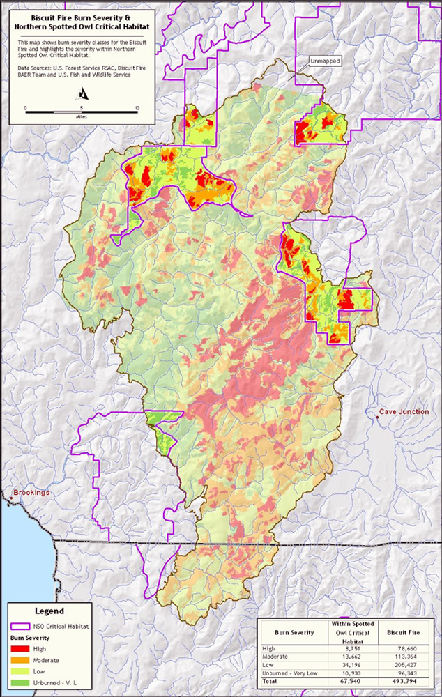 Spotted Owl Habitat Biscuit Fire Severity Map This Map Shows The Amount Of Regulated Owl Habitat Within The Boundaries Of The Biscuit Fire
